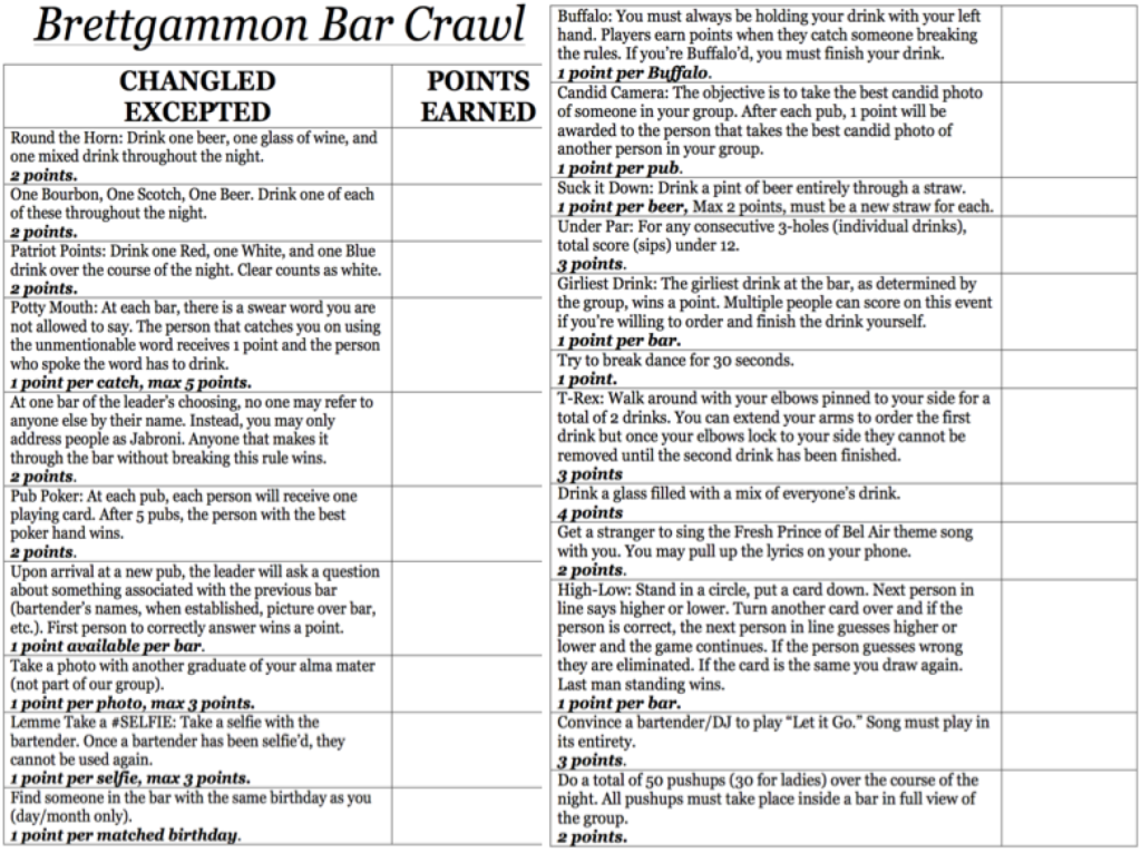 Brettgammon Bar Crawl